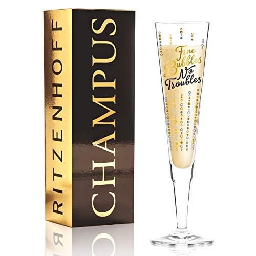 Oliver Melzer Verre à champagne en cristal avec éléments élégants dorés et platillés 200 ml