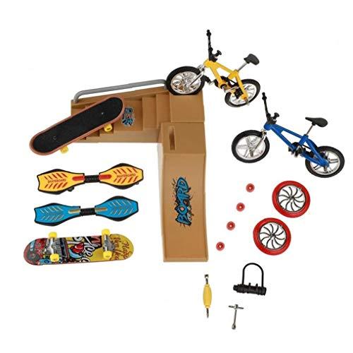 Patinetas dedo Juguetes Set, parque del patín Kit, Mini Scooter de bicicletas Skateboard Lugar para Niños Manos Formación Uso 1 Pck