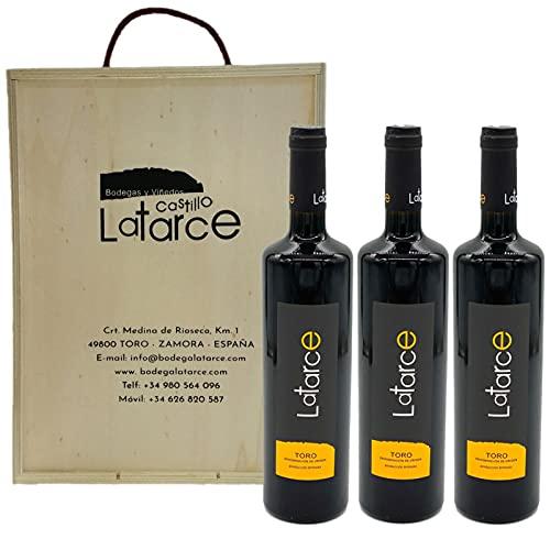 Caja Madera 3 Botellas Crianza Latarce 2017 | Vino Tinto | Botellas Vino Tinto Crianza Latarce D.O Toro | Producto Gourmet | Ideal para regalo