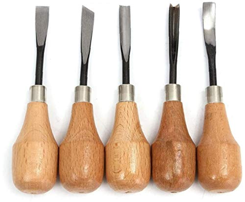 Deanyi 5 Stück Arbeitswerkzeug Hand Schnitzen Stemmeisen Schnitzen Löffel Schüsseln Set DIY Werkzeuge für die Drehmaschine Holzschnitt