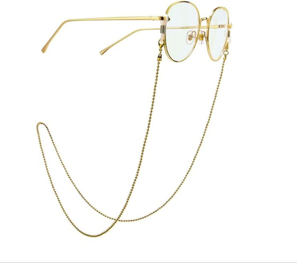 NJBYX Glasses Chain for Women Gold Color Bead Chain Lanyard Hip Hop Glasses Strap Sunglasses Cords Casual Glasses Accessories (Color : A, Size : Length-70CM)