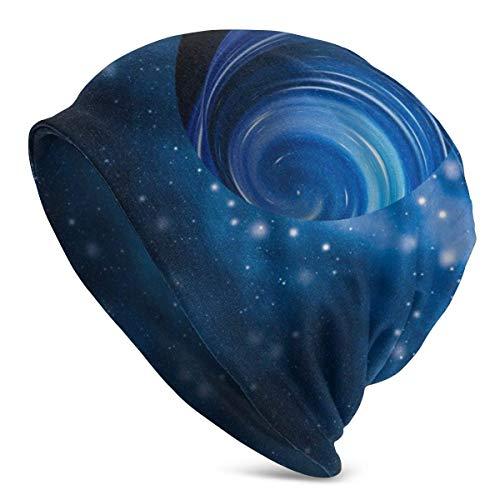 Hdadwy Discovery Cosmic Winter Beanie Knit Sombreros para Hombres y Mujeres Warm Skull Cap Negro