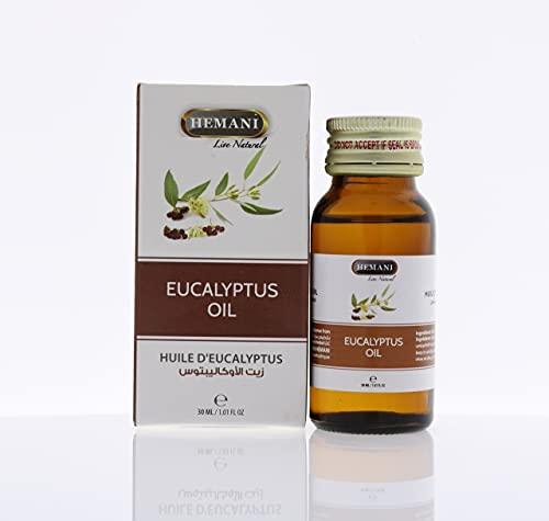 100% puro y natural ingredientes extractos esenciales de aceite de eucalipto de Hemani 30ml vegano natural y libre de crueldad cosechado éticamente