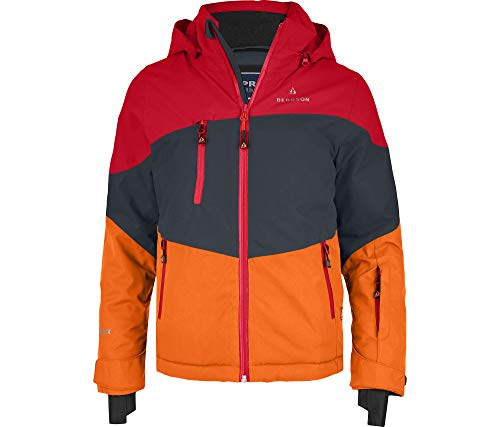 Bergson Kinder Skijacke Volker, Ebony/Chinese red/Persimmon or, 176 - Kinder
