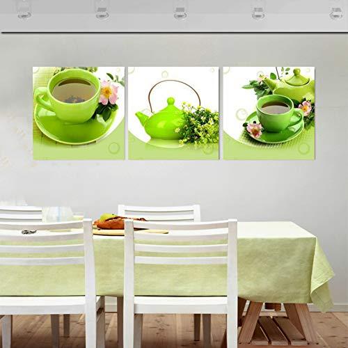 MMLFY 3 afbeeldingen op canvas 40x40cmx3pcs 3-delig/set moderne stilleven canvas schilderij groene theepot olieverfschilderij versieren woonkamer keuken wandafbeeldingen wooncultuur