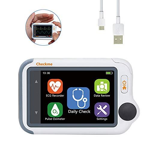 Tragbarer EKG-Monitor mit Sauerstoffsättigung und manschettenlosem Blutdruck - Früherkennung von Arrhythmie/PVC, HD-Farb-Touchscreen - Viatom Checkme Lite Handheld Heart Health Tracker