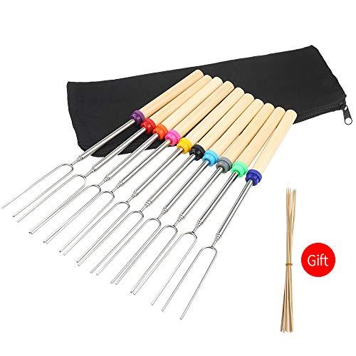 mreechan Barbecue Sticks,Roasting BBQ Sticks Set von 10 Teleskop Edelstahl Spieße -Ideal für Grillgabeln, stabil und erweiterbar auf 32 Zoll