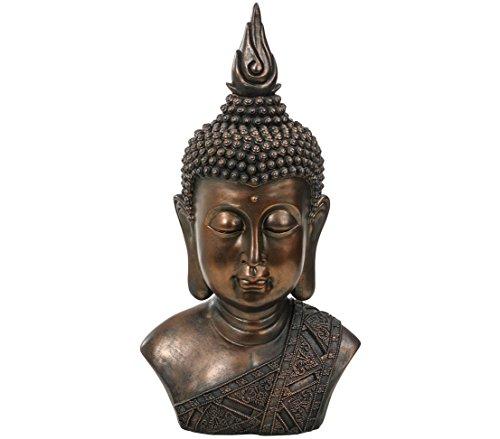Dehner Buddhafigur Kopf, ca. 57 x 30 x 21 cm, Polyresin, bronze/grau