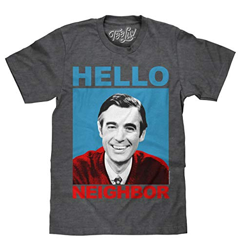 Tee Luv Mister Rogers T-Shirt - Mr. Rogers Hello Neighbor Shirt (XX-Large)  Charcoal Heather