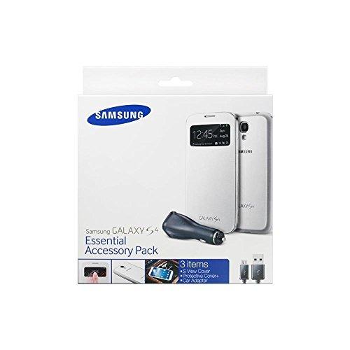 Samsung ET-VI950BWE - Pack de accesorios para Samsung Galaxy S4 (carcasa S-view blanca, cargador para coche), blanco- Versión Extranjera