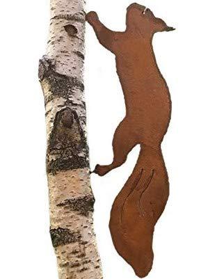 Écureuil à planter dans un arbre, 49 cm, métal, rouille, décoration de jardin, déco pour arbre
