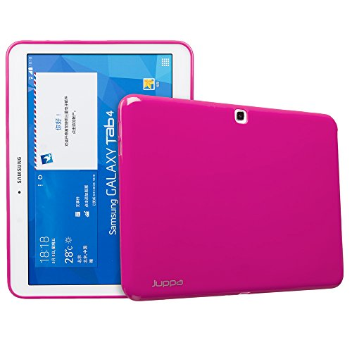 Juppa Samsung Galaxy Tab 4 10.1 Inch SM-T530 SM-T531 Slim Fit TPU Gel Case Cover with Screen Protector, Micro Fibre Cloth & Application Card (Pink)