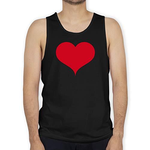 Shirtracer I Love - Herz klassisch rot - M - Schwarz - Lebenspartner - BCTM072 - Tanktop Herren und Tank-Top Männer