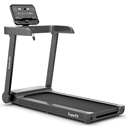 Goplus 2.25HP Electric Folding Treadmill with Incline, Walking Running Jogging Fitness Machine with Blue Backlit LCD Display for Home & Gym Cardio Fitness (2.25HP Low Noise)