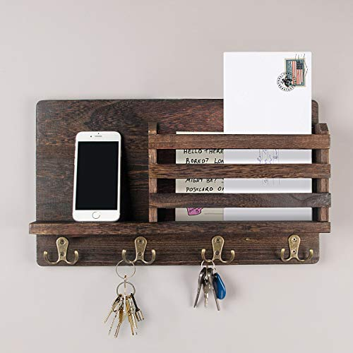 Wall Mounted Mail Holder Wooden Mail Sorter Organizer with 4 Double Key Hooks and 1 Floating Shelf Rustic Home Decor for Entryway, Hallway, Foyer or Mudroom Holds Documents, Bills, Letters, Keys, etc
