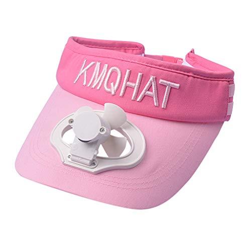 bloatboy Sommer Leeren Hut Creative Baseball Cap Mit Kühlung Fan USB Lade Ventilator, Unisex Atmungsaktiv Schatten Angelmütze Camping Sonnencreme Hut (Pink)