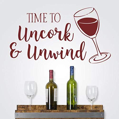 Calcomanía de pared de vino cita tiempo para descorchar y desenrollar calcomanías de pared para cocina y comedor Decoración Vinilo Bar Decoración Mural 57X32CM