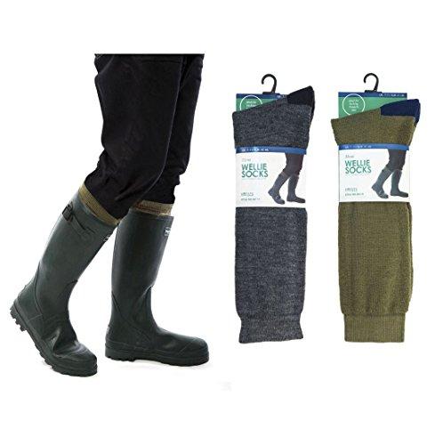 RJM Herren Ferse & Zehen Wellington Welly Stiefel Socken. Größe: 7–11 Gr. Medium, grün