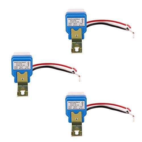 Ximimark 3Pcs 12V 10A Light Sensor Switch Auto On Off Dusk Sensor Night Light Sensor Twilight Switch