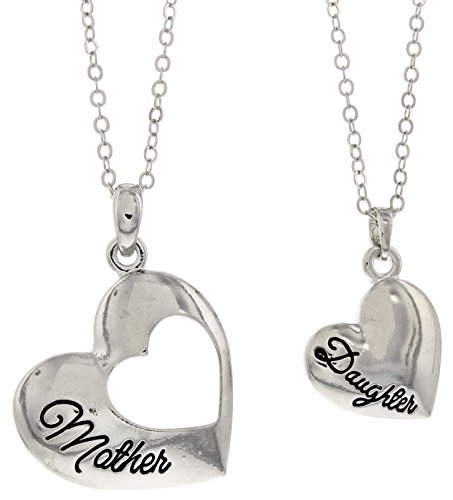 Mother Daughter Jewelry Silver-Tone Heart Pendant 2-Piece Necklace Set Mother Daughter Bond Forever Jewelry Box Mother Daughter Necklace Set for Mom and Daughter