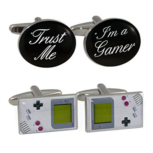 Trust Me I'm A Gamer & Retro Handheld Game Manschettenknöpfe, in Geschenkbox aus Leder