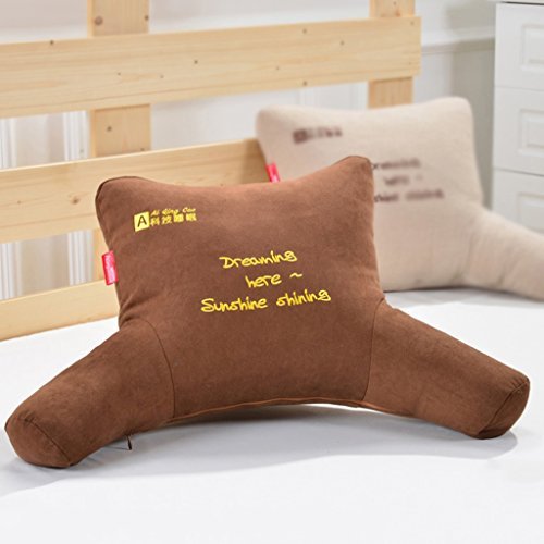 MMM- Coussin Bureau Sangle Oreiller Chevet Chaise Canapé Dossier Pad Siesta Oreillers ( Couleur : Marron , taille : 53*30*13cm )