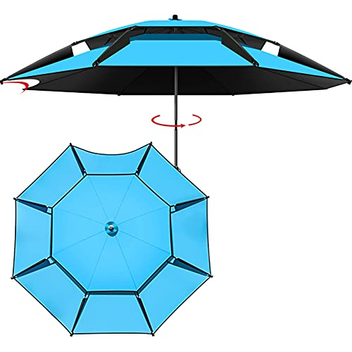 2 m / 2,2 m Parasol de Aluminio para Patio al Aire Libre, Parasol de Pesca, Impermeable/Protección UV 50+, Paraguas de jardín para Playa/terraza (Negro/Azul/Gris/Café)