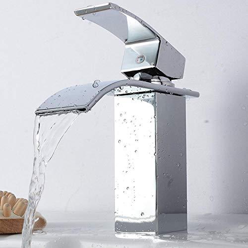 LHSOO Wasserhahn Mount Wasserfall Bad Wasserhahn Waschtisch Waschbecken Mischbatterie Kalt- und Warmwasserhahn Silvercurvedmouth