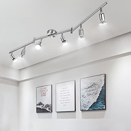 Lámpara de Techo LED 6 Focos, Wowatt Plafón con Focos Giratorios 6000K Blanco Frío 6x 6W Spot Bombillas GU10 Bajo Consumo 230V 600lm 83Ra IP20 Níquel Mate No Regulable