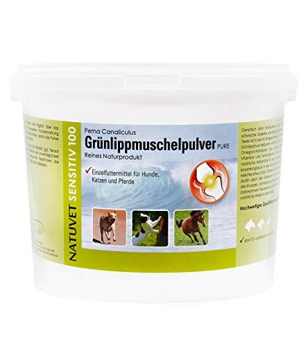 NatuVerde Grünlippmuschel-Pulver für Hunde, Katzen und Pferde, 1,5-kg-Dose mit Dosierlöffel. 100% reines Perna Canaliculus aus Neuseeland.