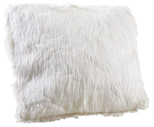 Coussin blanc imitation fourrure Blanc Gris