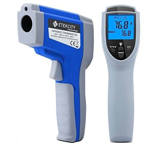 Etekcity Lasergrip 1022 Non-Contact Digital Laser Infrared Thermometer with Adjustable EMS & MAX Display, Blue (Certified Refurbished)