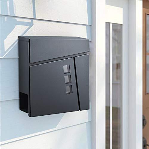 BONADE Briefkasten Anthrazit mit Zeitungsfach A4 Einwurf-Format, Edelstahl Wandbriefkasten mit Stichfenster, Lackiert Postkasten abschließbar Inkl. 2 Schlüssel
