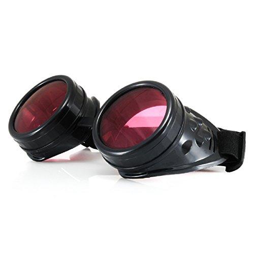 4sold (TM Cyber Goggles Punk Ultra Black Steampunk Rave Goth Sonnenbrillen