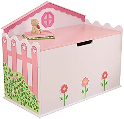 Dollhouse Design Pink and White Wooden Toy Box for Girls