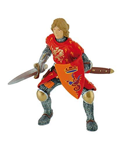 Bullyland 80786 - Spielfigur, Prinz mit Schwert rot, Fantasy Sammelfigur, ca. 8,3 cm, ideal als Torten-Figur, detailgetreu, PVC-frei, tolles Geschenk für Kinder zum fantasievollen Spielen