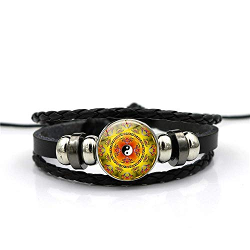 WYZQ Bracelet Chinese flower tai chi yin and yang Time gemstone bracelet multi-layer woven black leather handmade beaded European and American personality fashion jewelry Jewellery