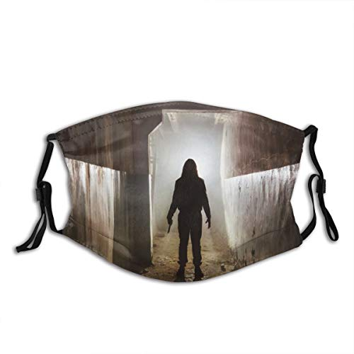 Creepy silhouette with knife in the dark abandoned building horror about maniac,Dust Washable Reusable Filter and Reusable Mouth Cover Warm Windproof Cotton Face