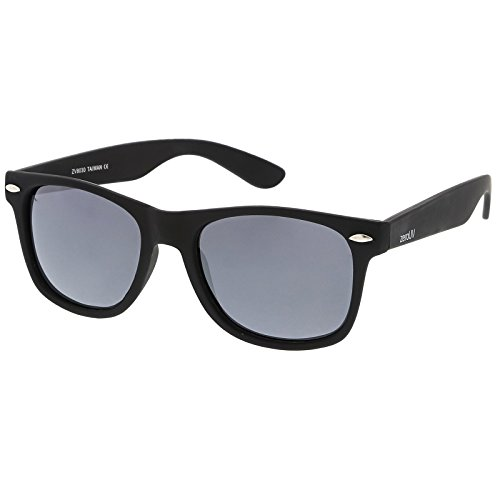 zeroUV - Retro 80's Classic Colored Mirror Lens Square Horn Rimmed Sunglasses for Men Women (Polarized | Rubberized/Silver)