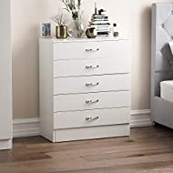 Vida Designs White Chest of Drawers, 5 Drawer With Metal Handles and Runners, Unique Anti-Bowing Dra...