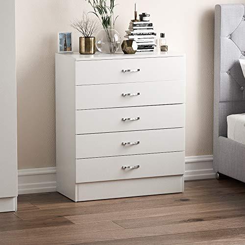 Vida Designs Biała komoda, 5 szuflad z metalowymi uchwytami i bieżnikami, unikalne wsparcie szuflady, meble do sypialni Riano