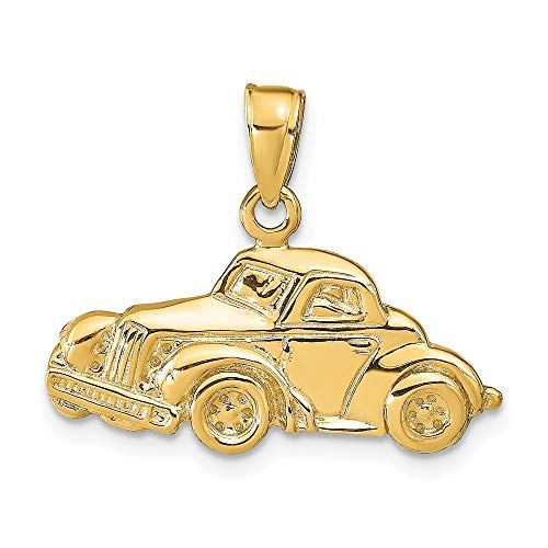14k Yellow Gold Classic Antique Car Pendant Charm Necklace Travel Transportation Fine Jewellery For Women Gifts For Her