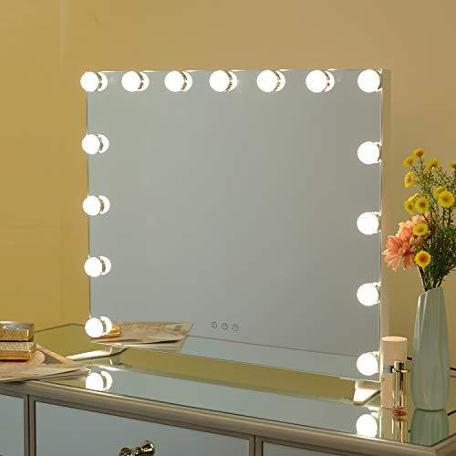 WAYKING Beleuchteter Wandspiegel Schminkspiegel, Hollywood-Stil mit Hellen LED-Beleuchtung, Rahmenloser Kosmetik Spiegel für den Schminktisch Mehrfach-Farb-Modi mit 15 dimmbaren Leuchten