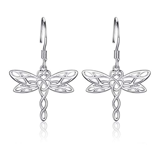 Sterling Silver Dragonfly Earrings Necklace - Celtic Jewelry Gifts for Women Dragonfly Lovers (silver dragonfly earrings)