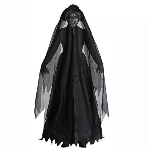 LISI Medieval Disfraces Cosplay, Vampiro Reina Miedo Bruja Falda Ropa + Joyas Cabeza, Carnaval Halloween Juego Vestido Ropa Fiesta Traje Escenario (Conjunto 2 Piezas),Negro,M