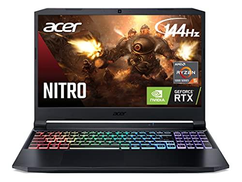 "Acer Nitro 5 AN515-45-R21A Gaming Laptop, AMD Ryzen 5 5600H Hexa-Core Processor | NVIDIA GeForce RTX 3060 Laptop GPU | 15.6"" FHD 144Hz IPS Display | 16GB DDR4 | 512GB NVMe SSD | WiFi 6 | RGB Keyboard"