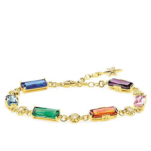 Thomas Sabo Damen-Armband Farbige Steine mit goldenen Sternen 925 Sterlingsilber gelbgold vergoldet A1912-959-7-L19v