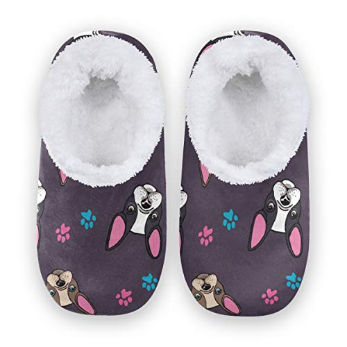 Qmxo French Bulldog Puppy Paw Print Slippers for Women and Men, Womens Coral Fleece Indoor Slippers House Slippers Socks Fuzzy Feet Slippers Bedroom Slippers Non-Slip