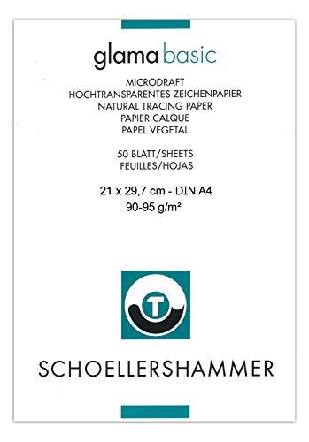 Honsell 25508 - Schoellershammer Glama Microdraft hochtransparentes Zeichenpapier, DIN A4 Block mit 50 Blatt, 90 – 95 g/m², für technische Zeichnungen, Skizzen mit Bleistift, Filzstift, Tusche