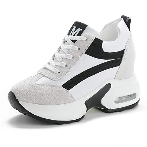 TQGOLD® Sneakers Zeppa Donna Scarpe da Ginnastica con Zeppa Interna Sportive Fitness Basse Scarpe 9CM(Nero,32 EU)